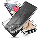 Reshias Funda para Samsung Galaxy A02S / A03S con 2 Piezas Cristal Templado Protector de Pantalla, Suave TPU Gel Silicona Anti-caída Protectora Carcasa Phone Case Cover (Transparente 6,5')