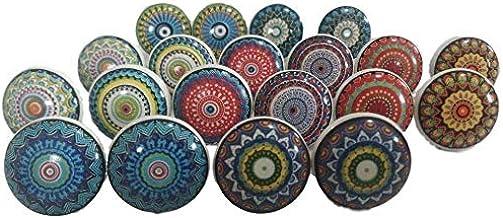 K KARMAKARA 20 pomos de cer/ámica surtidos de aspecto vintage con flores de aspecto variado multicolor plano