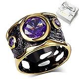 WANZIJING Art und Weise höhlt Ring für Frauen, Runde lila Kristall CZ Stein Schwarz Gold Ring Partei Schmuck Accessoires,8