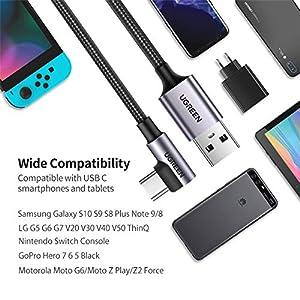 UGREEN Cable USB Tipo C 90 Grados, Cable USB 2.0 a USB C Carga Rápida, Cable USB C Codo para Xiaomi Mi A2, A3, Redmi Note 7, Redmi Note 8 Pro, Pocophone, Samsung A50, iPad Pro 2020, 2018 (0,5 Metro)
