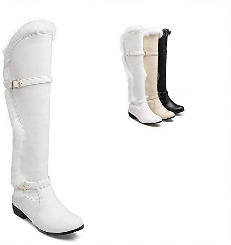 ZHRUI Stiefel para damen - Stiefel de Invierno Stiefel Antideslizantes cálidas Stiefel Stiefel hasta la Rodilla de tacón bajo más schuhe de Terciopelo   34-42 (Farbe   Weiß, tamaño   36)