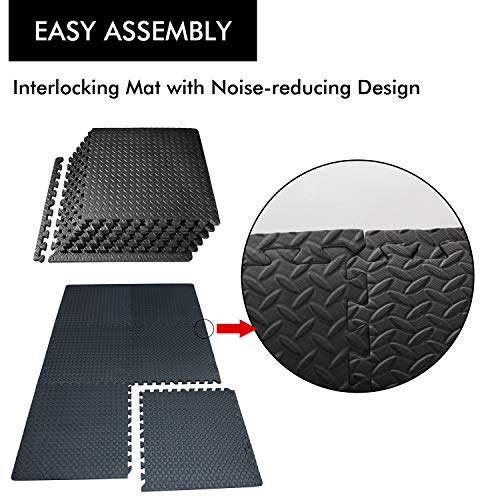 PROIRON Floor Protection Interlocking Mat 1.2cm/1.9cm extra thick Gym Floor EVA Foam Mats Tiles 60 x 60 cm for Kids…