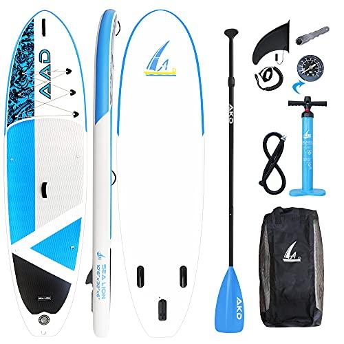 AKD Sealion Tavole Gonfiabili da Stand Up Paddle 106 320x81x15cm | 150kg/318L Kayak Surf, Pompa con Manometro, Pagaia in Alluminio Regolabile, Zaino E Cintura (Blu)