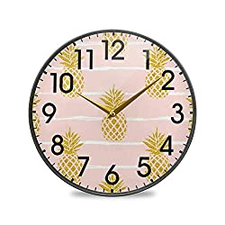 ALAZA Summer Gold Pineapple Fruit Striped Pink 9.5 Inch Round Wall Clock Battery Operated Non-Ticking Silent Quartz for Home Living Room Office Kitchen Bedroom
