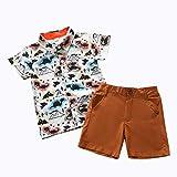 AMhomely pronnotion venta niño bebé niños caballero dibujos animados dinosaurio impresión camiseta tops+pantalones cortos trajes