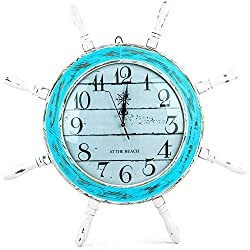 Nagina International 28 Inches Distressed Blue White Ship Wheel Wall Clock Nautical Coean Sea Decor