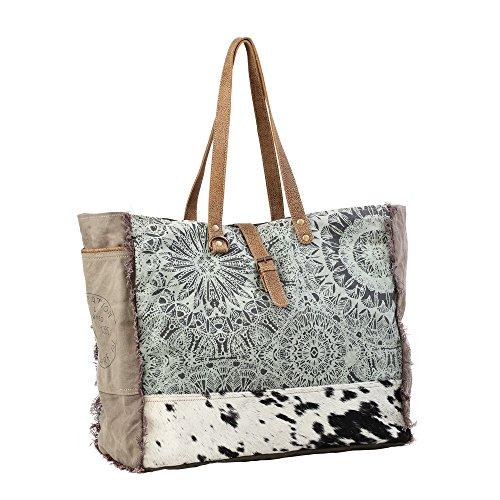 Myra Bag S-1192 Einkaufstasche aus Segeltuch| Blumenmuster| Grün | Taschen > Handtaschen > Einkaufstasche | Myra Bag