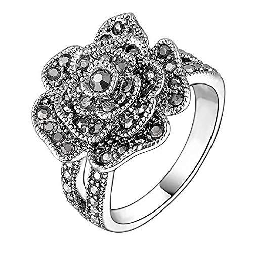FZH Anelli Anello Floreale Anello retrò Anello Micro Diamante Moda Nero n. 9