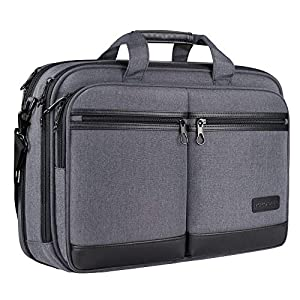 KROSER ビジネスバッグ メンズ 17.3インチPC対応 ノートパソコンバッグ pcバッグ 大容量 コンピュータバッグ ラップトップバッグ/撥水/ビジネス/通勤/通学/出張/営業 -グレー