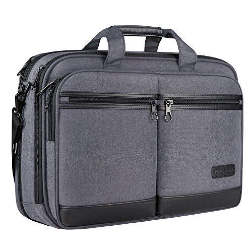 KROSER Laptoptasche Stilvolle Schultertasche Passt bis zu 17,3 Zoll Aktentasche Erweiterbare Wasserdicht Umhängetasche mit RFID-Taschen für Geschäft/Reisen/Schule/Männer/Frauen-Grau MEHRWEG