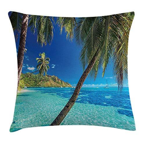 Funda de cojín Decorativa Almohada Imagen de una Isla Tropical con el Tema de Las Palmeras y la Playa de mar Claro Imprimir Pillowcase 45x45 cm Azul Turquesa