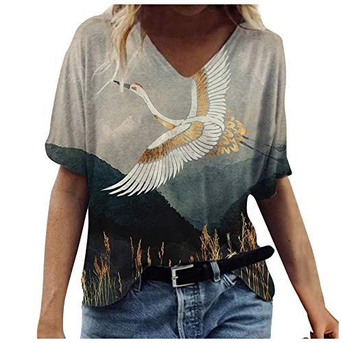Zegeey Sommer Top Damen Kurzarm-T-Shirt-Oberteil mit Buntem Druck kurzen Ärmeln Bluse Elegante Lässige Mode Bluse Damen Geschenk 2021 Neue Damen Crop Tops