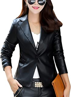 DISSA P9108 Women Faux Leather Lapel Jacket Slim Coat Leather Jacket
