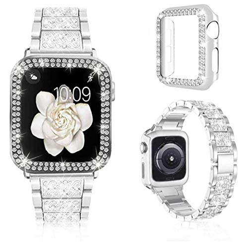 Para Apple Watch Bandas 38 mm 40 mm 42 mm 44 mm Mujeres Correa de metal brillante y estuche protector Bling Para IWatch Series 6 5 4 3 2 1 SE-Shine White, 38 mm