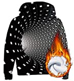 AIDEAONE Athletic 3D Cool Swirl Bedruckte Grafik Hoodies Pullover Langarm Fleece Sweatshirts Schwarz 11-14 Jahre