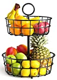 Fruit Basket, STEELGEAR 2 Tier Fruit Basket Bowl Vegetable Organizer for Kitchen, Detachable Vegetable Storage Fruit Stand Holder for Counter Dining Room Countertop, Black