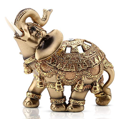 Golden Elephant Statue 5.5 Lucky Feng Shui Elephant, Thai Elephant with Trunk Facing Upwards Collectible Figurine Sculpture Decoration Statue Wealth Lucky Figurine Home Office Decor Gift, Golden L