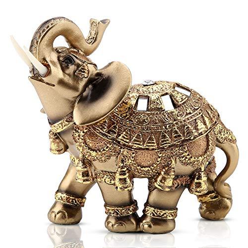 """Golden Elephant Statue 5.5"""" Lucky Feng Shui Elephant,..."""