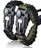Survival Bracelet Paracord Military Bracelet Buckle Tool Adjustable Rope Accessories Kit, Fire Starter, Knife, Compass, Whistle,for Fishing Gear Supplies, Hiking Travel Camp(2pcs), (Black,Green)