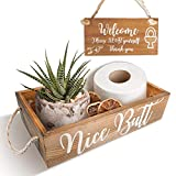 Nice Butt Bathroom Decor Box Hello Sweet Cheeks with Wall Design, Funny Toilet Decorations Rustic Farmhouse Decor Art Sign, Paper Holder Basket Home Accessories, 2 Sides Fun Design
