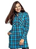 oodji Ultra Mujer Vestido Camisa con Bolsillos, Turquesa, ES 34 / XXS