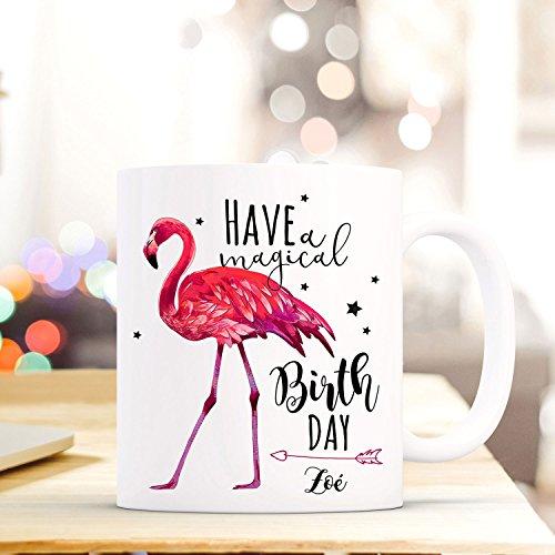 ilka parey wandtattoo-welt Tasse Becher Kaffeebecher mit Flamingo & Spruch Have a Magical Birthday Kaffeebecher Geschenk mit Name Wunschname ts685