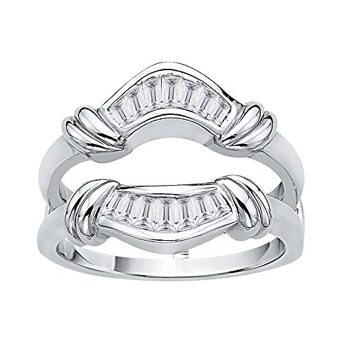 KATARINA Baguette Cut Diamond Ring Guard in 14K White Gold (3/8 cttw, J-K, SI2-I1) (Size-4.5)