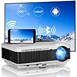 Full HD Movie Projector with Smart Bluetooth WiFi Android OS, 5000 Lumen Wireless LCD Projector 200 Inch Display Outdoor Movie Home Theater iOS Phone Screen Mirroring Airplay Zoom for HDMI USB DVD PS4