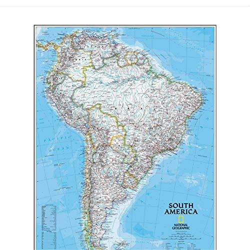 Zuid-Amerika kaart Geografie duidelijke lijnen en beschrijvingen Woonkamer Canvas Muurschildering Sticker Decor-50x70cmx1pcs -Geen frame