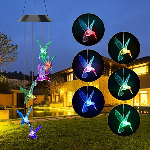 BestCool Solarleuchten Windspiele LED 6 Blue Bird Windspiellicht mit Farbwechsel, wasserdicht hängende Solar Gartenlampe für Home Patio Yard, dekorative Windbell Licht für Outdoor Indoor Mit Haken