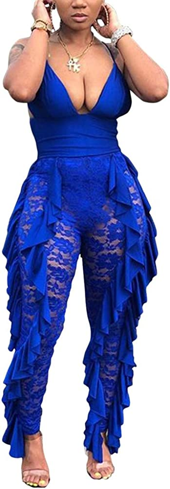Women Sexy Lace Floral Max 81% OFF See Through V-Neck OFFicial Rom Deep Mesh Jumpsuit
