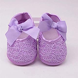 Purple 0-6 Months Baby Shoes Baby Girl Soft Shoes Soft Comfortable Bottom Non-Slip Fashion Bow Shoes Crib Shoes 2018