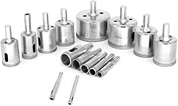 ValueHall 15 PCS Diamond Drill Bits Coated Core Dril 6 mm -50 mm (1/4 to 2 Inch) Hole Saw Set for Glass, Ceramic, Porcelain, Marble, Tile, Granite V7041-3