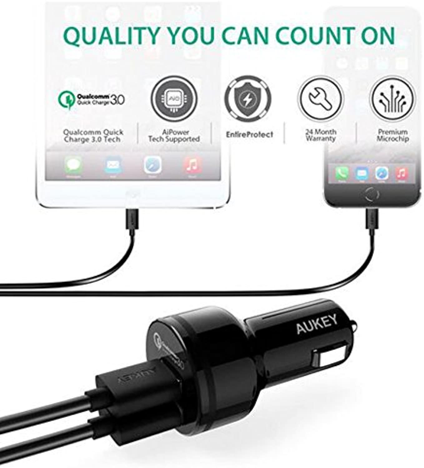 Trolax(TM) For Qualcomm Quick 3.0 Charger Car Charge 5V 2A Quick 2 Dual Port Output QC3.0 USB Car Charging Adapter For Smart Phone