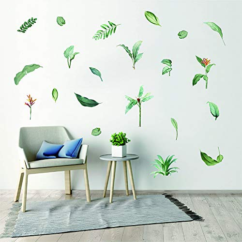 Tropical Palm Leaf Wall Decals - Tropical Plants Tree Leaves Wall Sticker - Removable Waterproof for Kids Nursery Room Home Decor Bedroom Living Room DIY Decoration