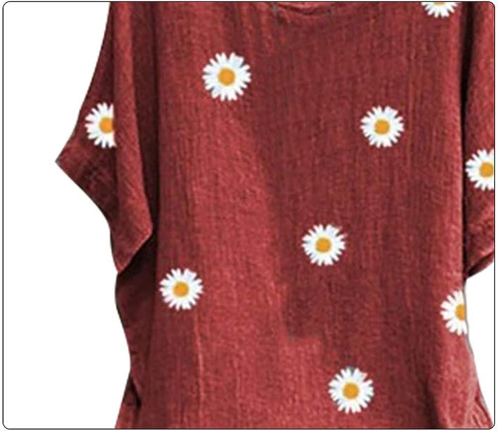 discountstore145 Women Tops,O Neck Short Sleeve Marguerite Print Cotton Linen Loose T-Shirt Blouse Pullover for Summer