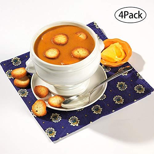 Lion Head Cup Porcelain Soup Bowls, Soup Bowls Microwave Safe, Lion Head Soup Bowl, Flower Pot Planter Bowl,Soup and Fruit,12 Ounce,set of 4,Home Kitchen Supply
