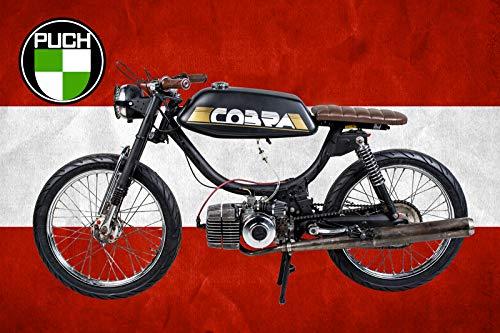 Schatzmix motorfiets Cobra Puch Oostenrijk vlag metalen bord 20x30 tin Sign blikken bord, blik, meerkleurig, 20x30 cm