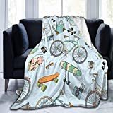 Ultra-Soft Micro Fleece Blanket,Bicycles Boards and Accessories On Blue, Warm Throw Blanket for Couch Bed Living Room 50'X 40'