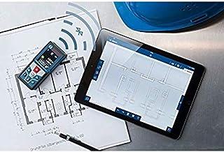 جهاز قياس المسافة الاحترافي بتقنية البلوتوث من بوش لمدى قياس يتراوح بين 0.05 و 50 متراً مع حقيبة واقية, 0601072C00, Black, Blue, bis 50 m + Bluetooth + App