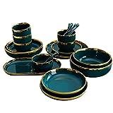 Juego de vajilla de porcelana verde malaquita japonesa de 26 piezas con cuencos/cucharas/palillos/lavabo profundo servicio para 6