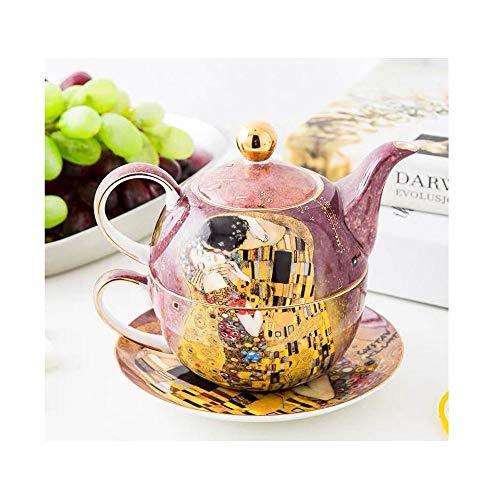 YYH Refinado Juego de té de Porcelana de Hueso, Juego de Tetera y Taza de té, Pintura Hermosa de Purple Kiss, Estilo nórdico, para la Familia, Regalo