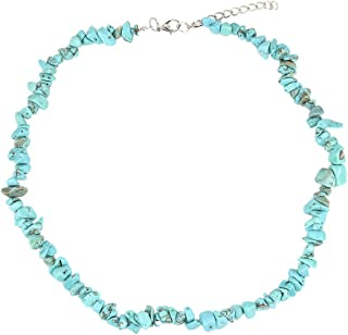 Lorsoilyn Layered Choker Necklace Stainless Steel Pendant Necklace Boho Turquoise Shell Necklace Coin Disc Palm Tree Choker Multilayer Chain for Women Girl