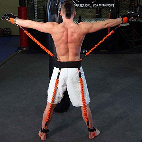 YNXing Krafttraining Seil für Boxen, Basketball, Fechten Ausbildung Widerstand Seil Blau Stretch Cord Zugseil Fitnessgeräte (Orange)