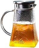 Tetera de cristal de borosilicato de 1,0 L, jarra de cristal sin plomo, con mango de cristal y jarra de acero inoxidable, apta para zumos de frutas frías, juego de té 100% sin BPA