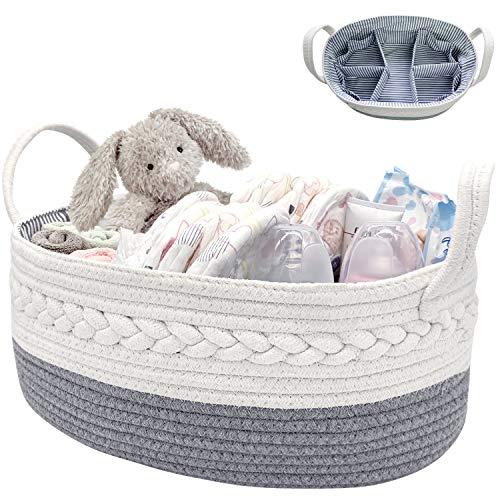 NXY Cute Baby Windel Caddy Organizer, großer Korb, 16,5 x 10,3 x 6,5 Zoll, hellgrau und weiß, 100% Natur Baumwollseil Kinderzimmer Vorratsbehälter/Caddy, Top Neugeborenen Registrierungsgeschenk