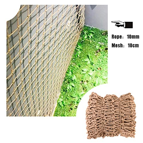 Safety Nets Hemp Rope Net Net Decoration Nautical Fish Net,Trellis Netting for Climbing Plants,Natural Jute Material,10mm/10cm,for Home Outdoor Decoration,Multiple Sizes (Size : 5x6m)