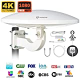 ANTOP AT-414B HDTV Antenna UFO 360° Omni-Directional Reception with Smartpass Amplifier & Built-in 4G LTE Filter, Enhanced VHF &UHF Signal, Fit Outdoor/RV/Attic Use (33ft Coaxial Cable, 4K UHD Ready)