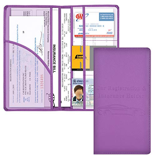 Car Registration and Insurance Holder, Vehicle Glove Box Car Organizer Men Women Wallet Accessories Case with Magnetic Shut for Cards, Essential Document, Driver License by Cacturism, Purple