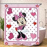 Fgolphd Duschvorhang rot Disney Mickey Mouse 180x200180x180 200x240 Creme Grün BlätterStrand Bunt Badezimmerteppich 4-teiliges Set,Shower Curtains Waschbar (180 x 180 cm,2)